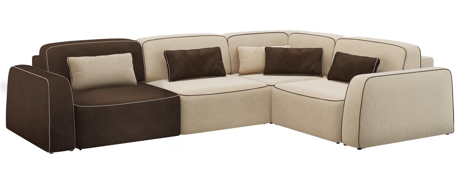 Модульный диван Портленд 350 см Вариант №4 Velure бежевый/темно-коричневый (Велюр)