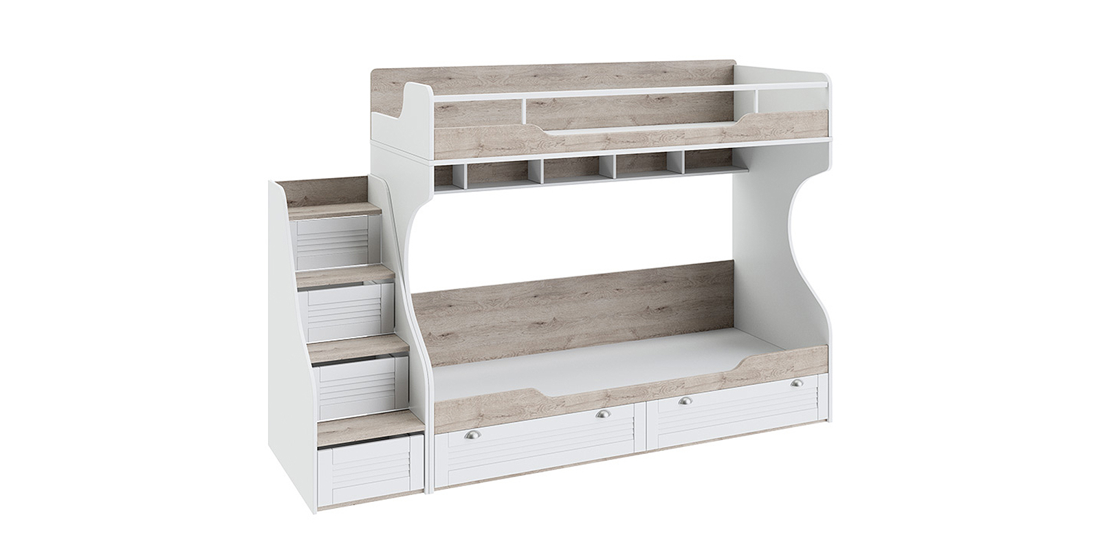 Кровать двухъярусная Мерида с лестницей (дуб бежевый/белый)