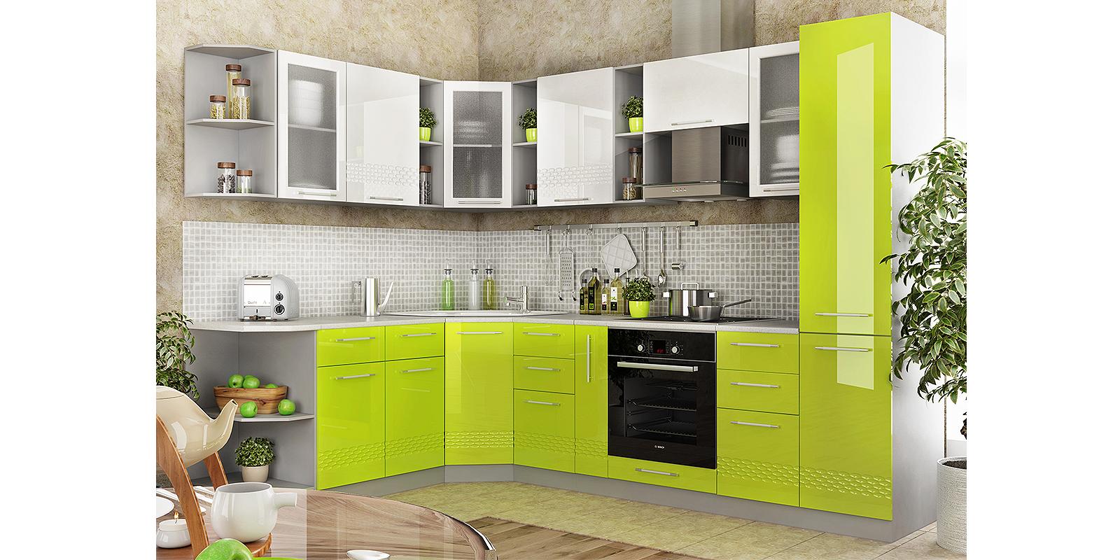 Модульная кухня Тиара вариант №2 (серый/лайм глянец) от HomeMe.ru