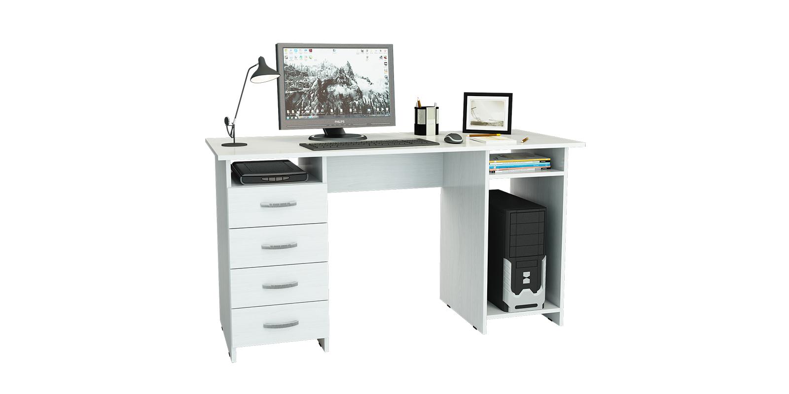 Стол компьютерный Дунай вариант №1 (белый)