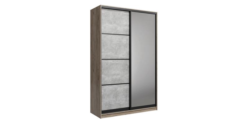 Шкаф-купе двухдверный Лофт 180 см (дуб крафт серый/бетон серый +зеркало)