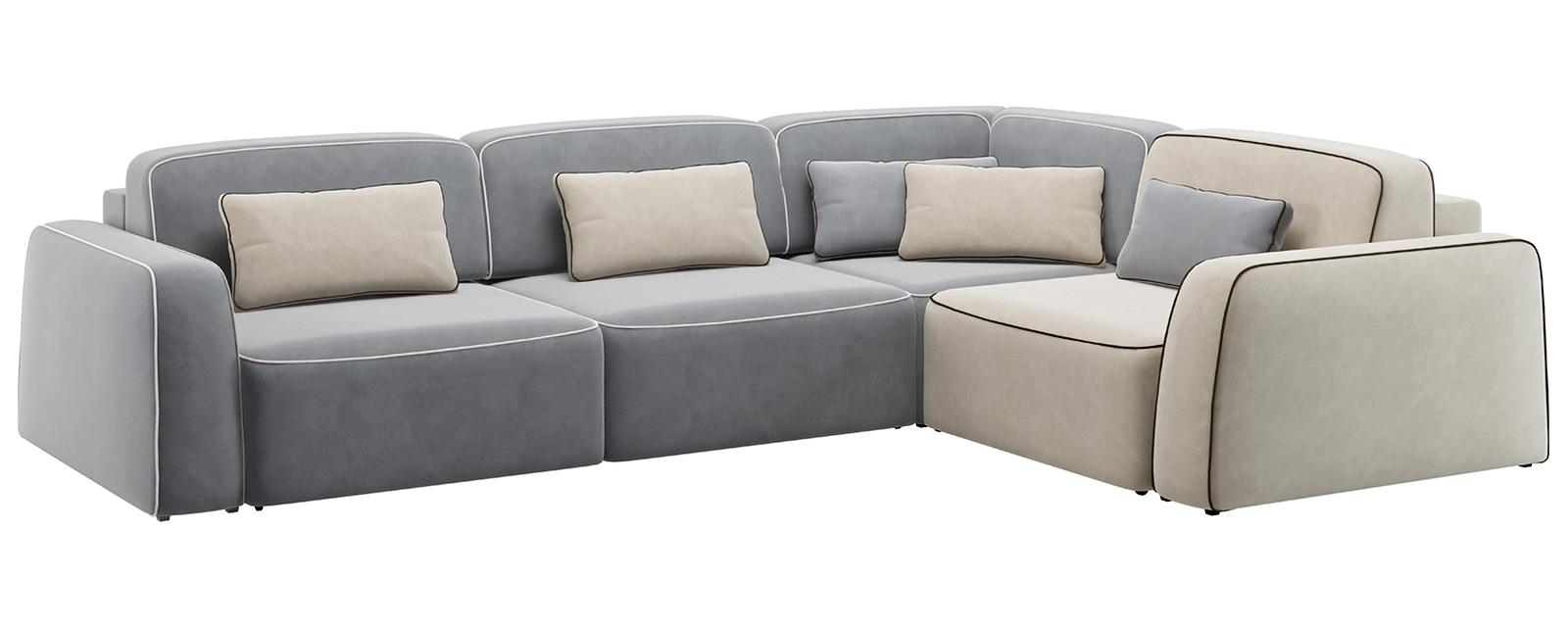 Модульный диван Портленд 350 см Вариант №1 Velutto серый/бежевый (Велюр)