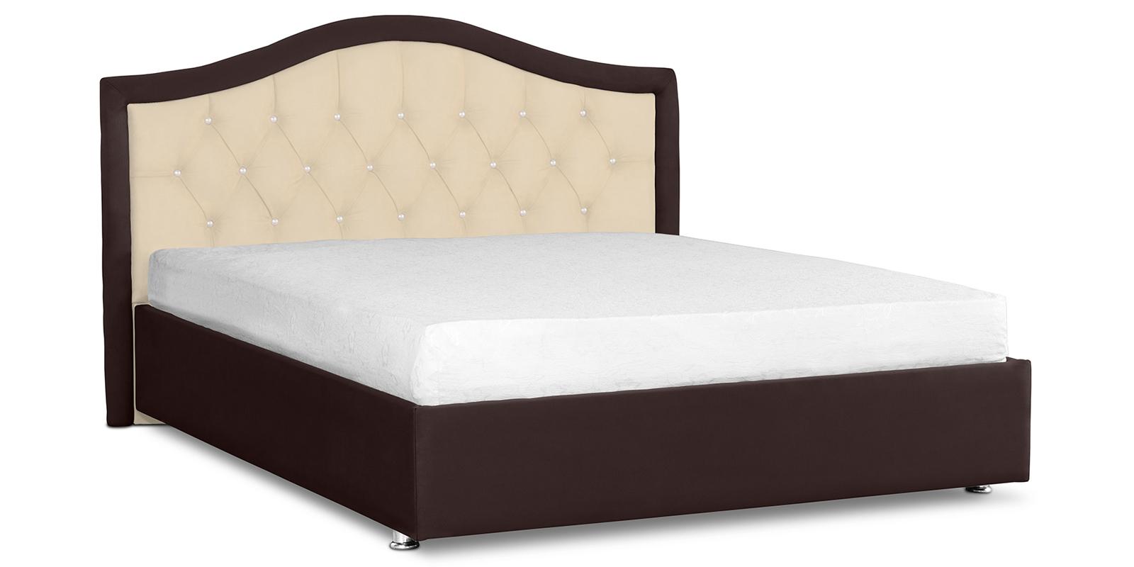 Мягкая кровать 200х160 Малибу вариант №9 с подъемным механизмом (Бежевый/Шоколад)