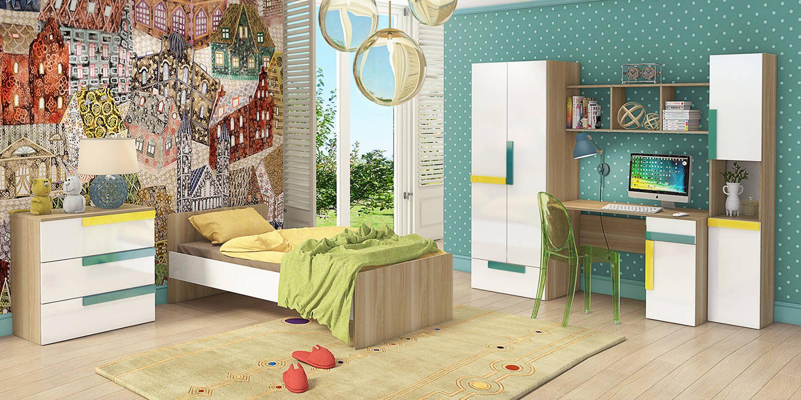 Модульная детская Акварель вариант №1 (ясень песочный/белый) HomeMe