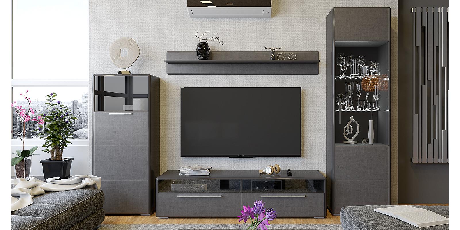 Модульная система Сорренто вариант №2 (серый/коричневый) от HomeMe.ru