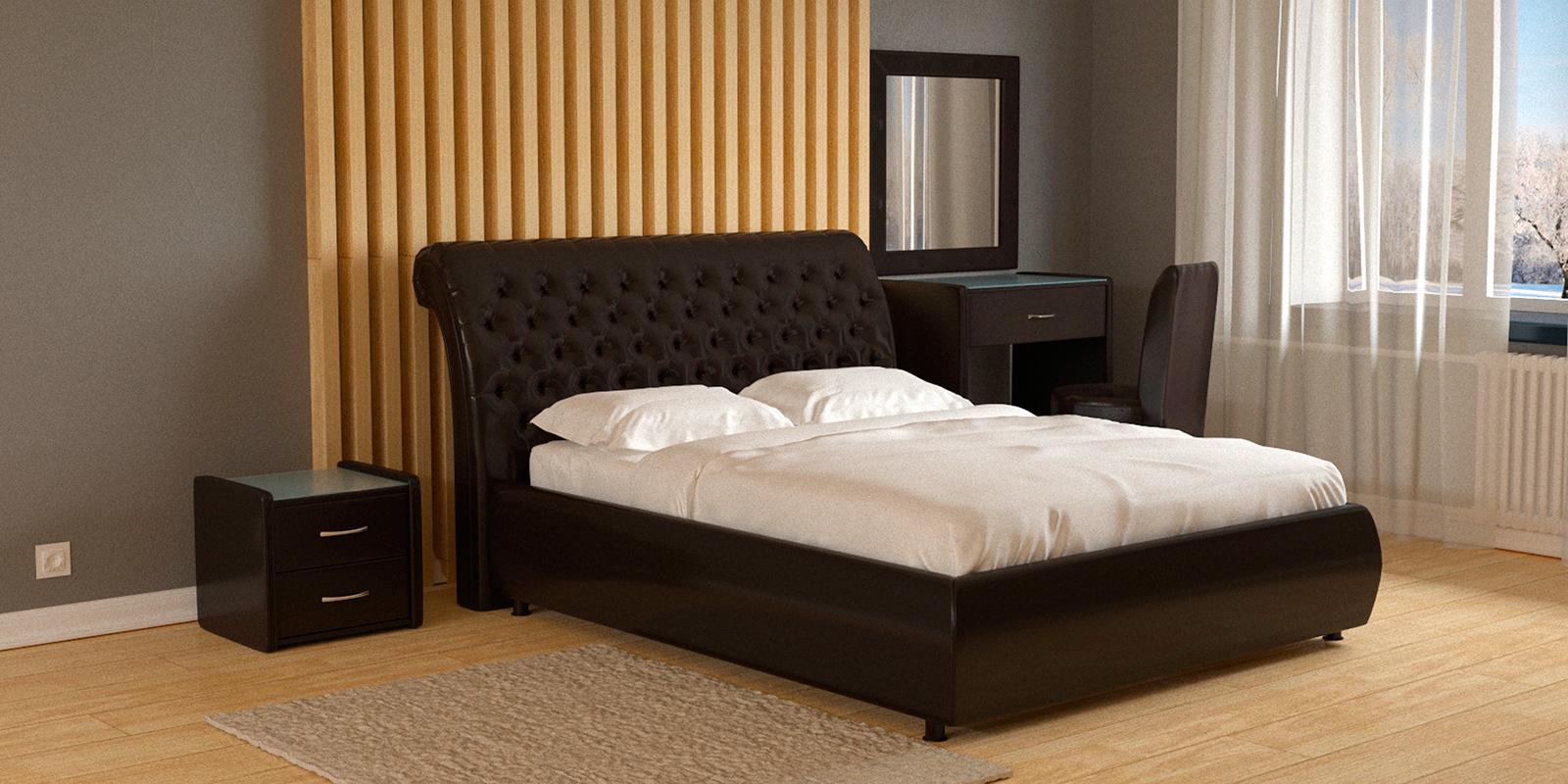 Мягкая кровать 200х160 Малибу вариант №6 с ортопедическим основанием (Шоколад)