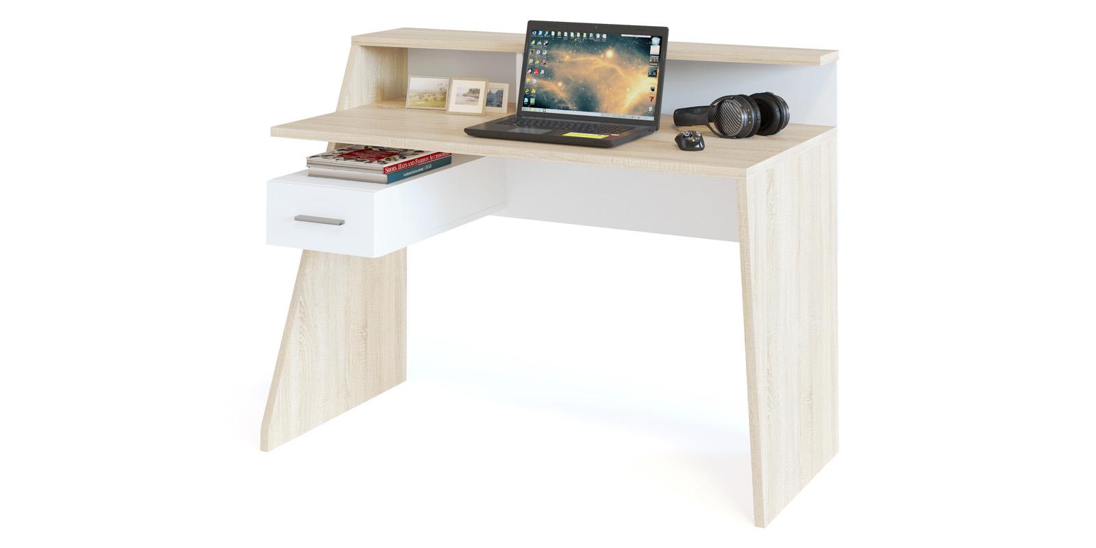 Стол компьютерный Альба (дуб сонома/белый)