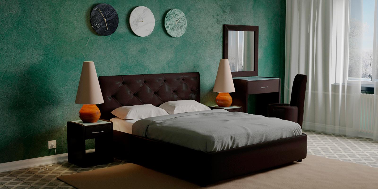 Купить Мягкая кровать 200х160 Малибу вариант №2 с ортопедическим основанием (Шоколад), HomeMe