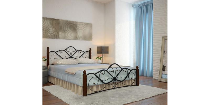 Металлическая кровать 140х200 Венера вариант №1 с ортопедическим основанием (черный/шоколад)