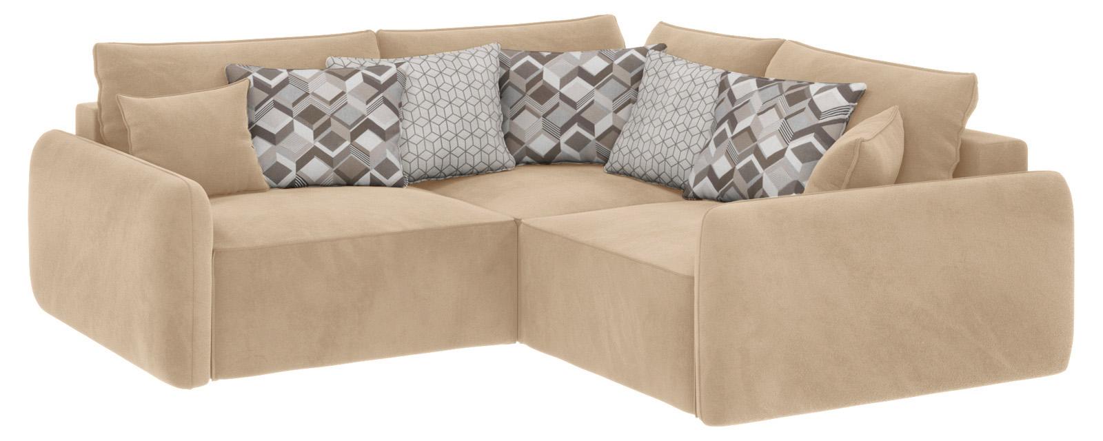 Модульный диван Портленд вариант №6 Soft песочный (Вел-флок)
