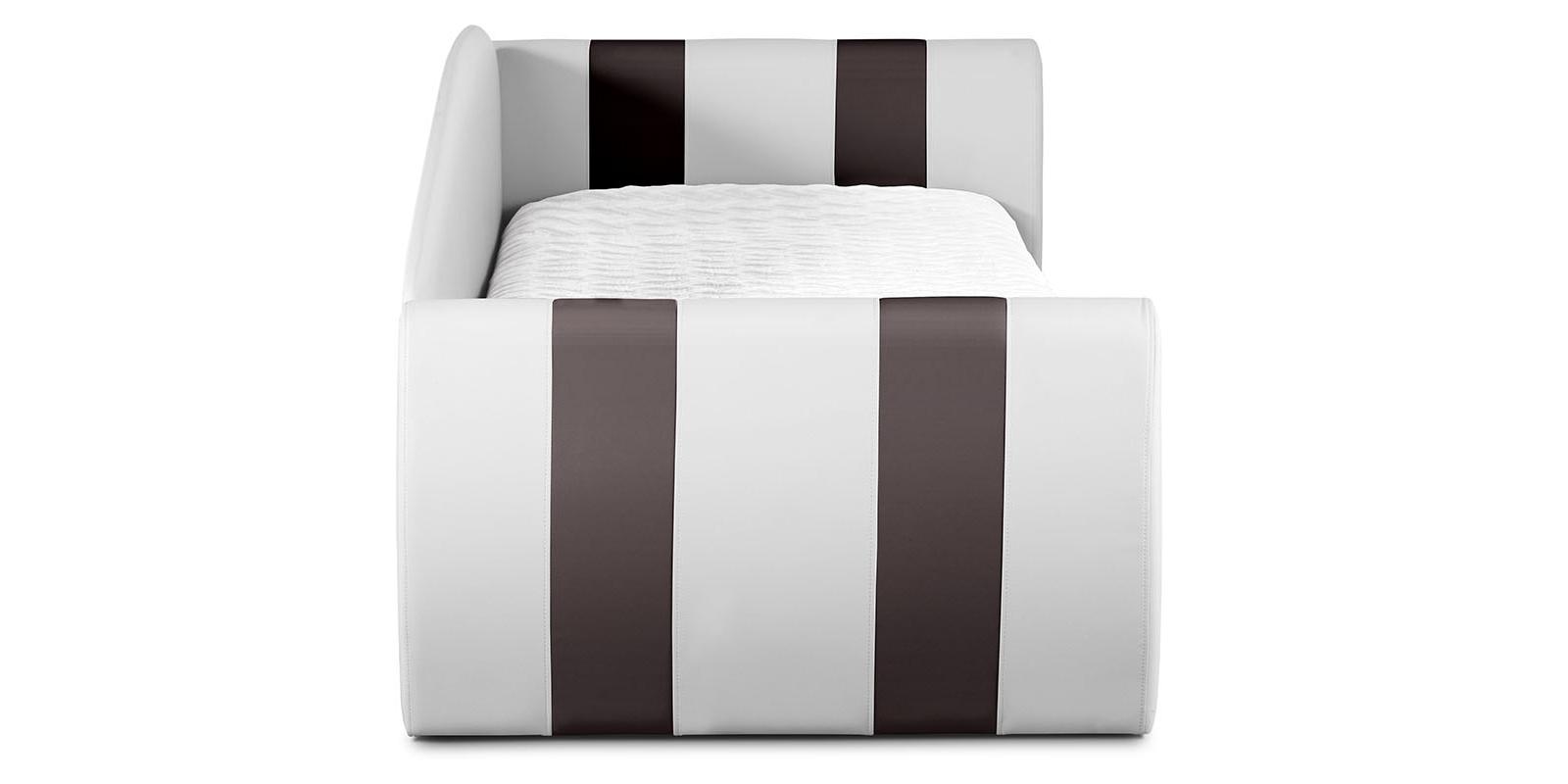 Мягкая кровать 190х90 Монако угол правый (белый/шоколад) от HomeMe.ru
