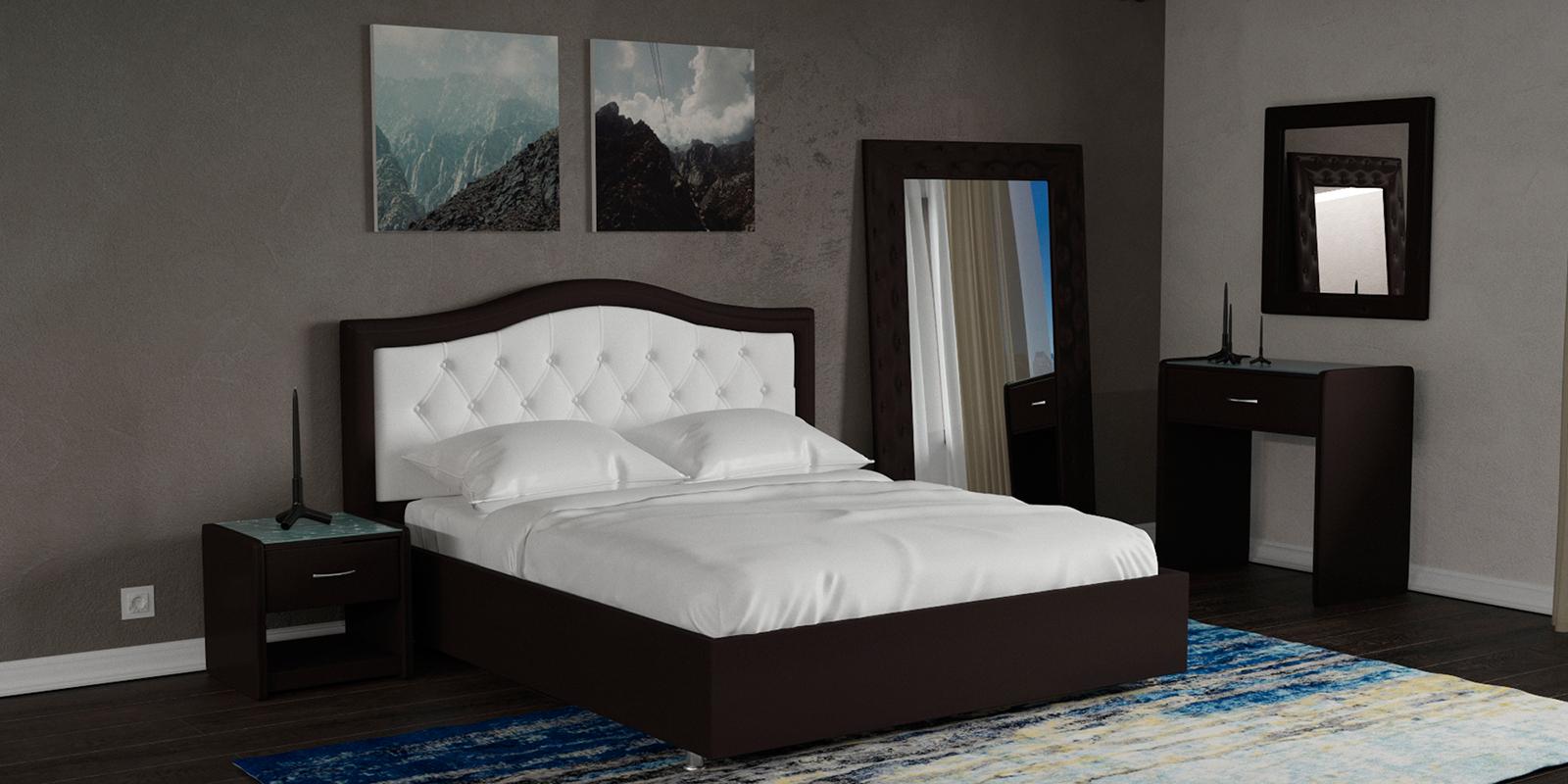 Мягкая кровать 200х160 Малибу вариант №9 с подъемным механизмом (Белый/Шоколад)