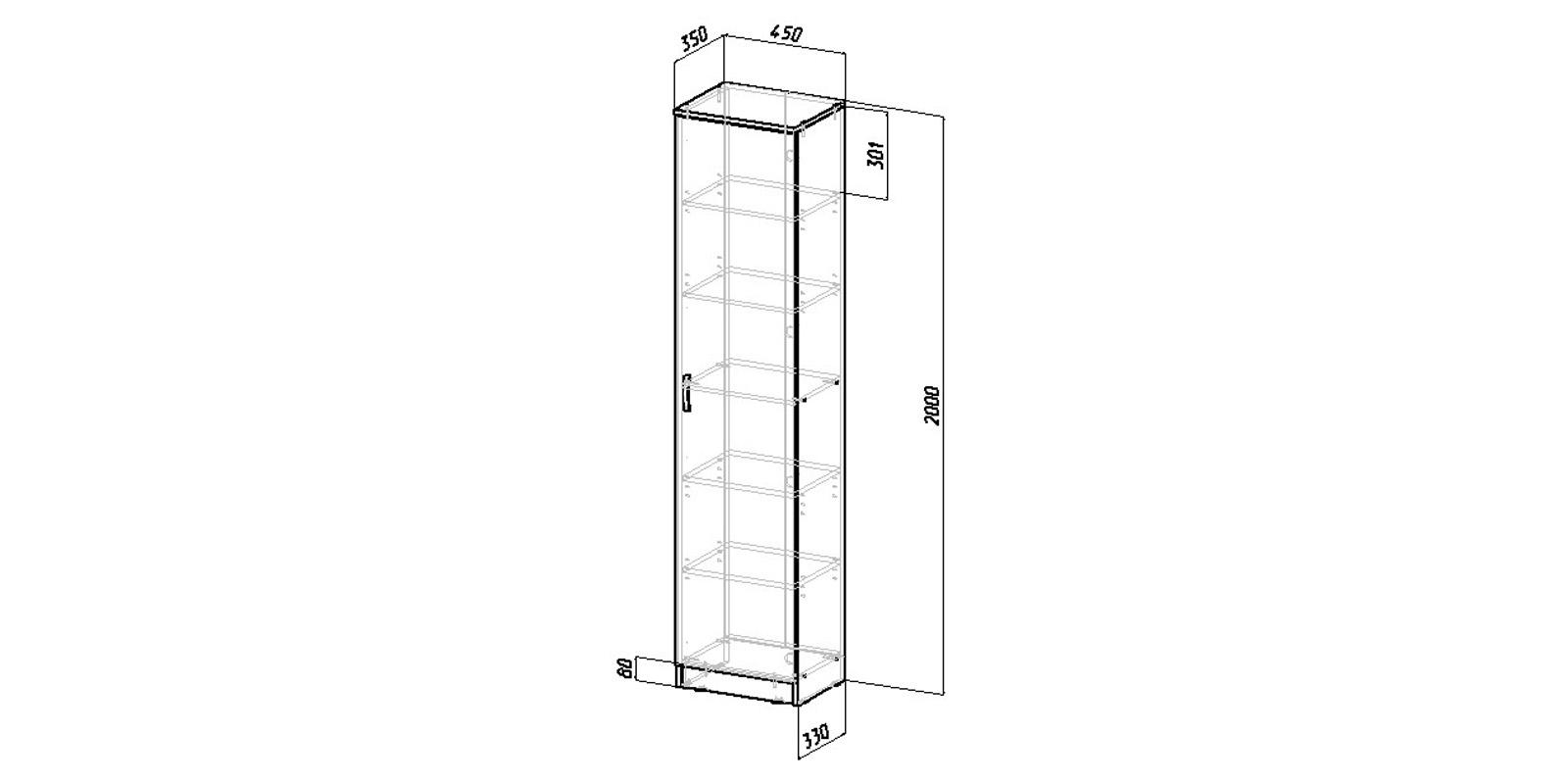 Шкаф распашной однодверный Хельга вариант №1 (венге)