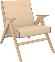 Кресло для отдыха Вест Натуральное дерево, ткань Verona Vanilla, кант Verona Antrazite Grey