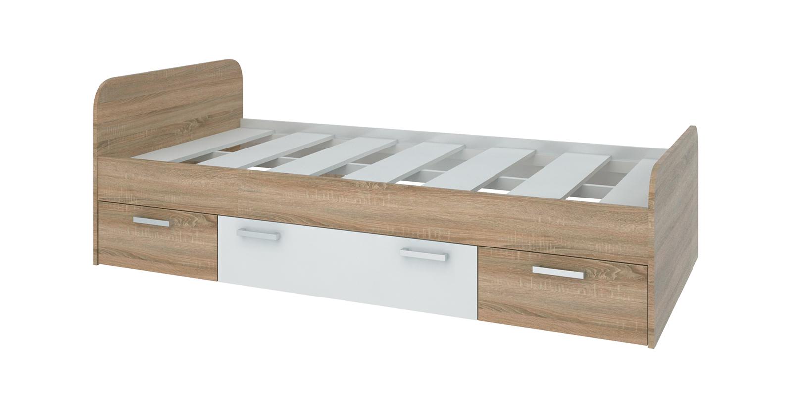 Кровать односпальная 190х90 Лакки без подъемного механизма (дуб сонома/белый) HomeMe