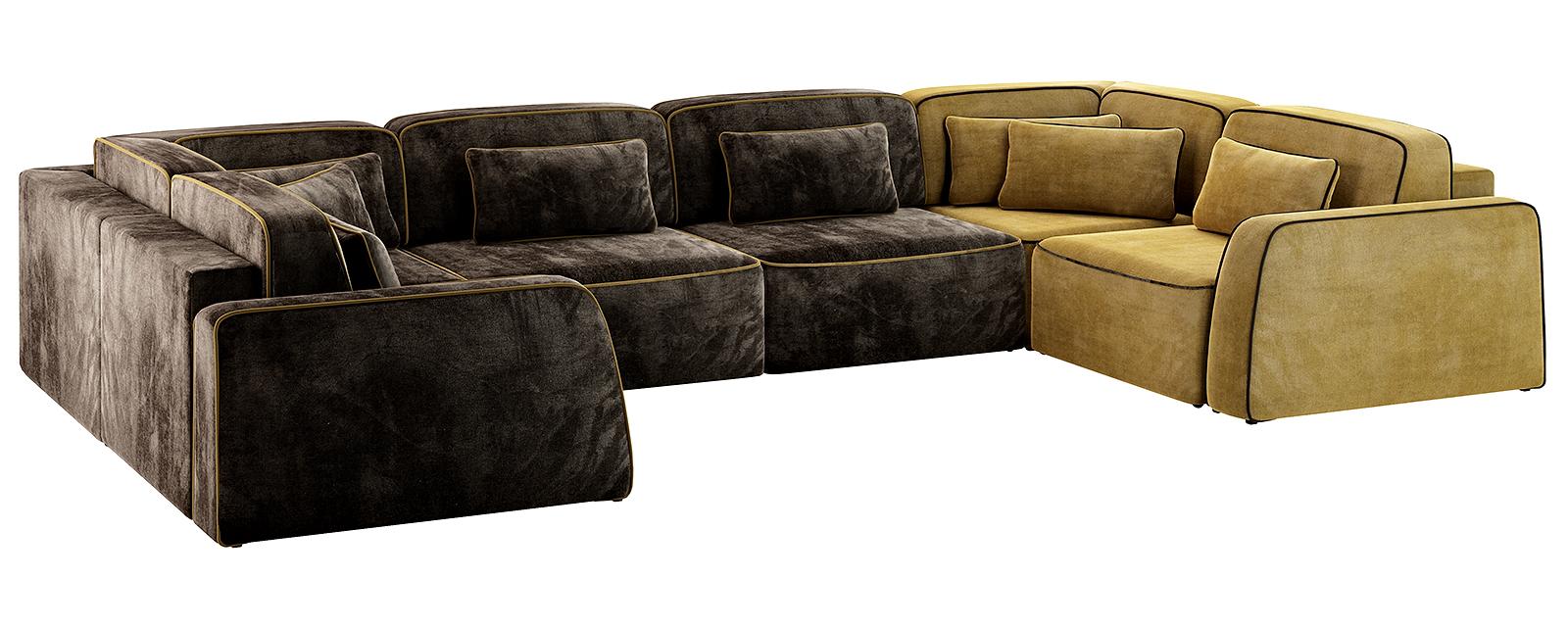 Модульный диван Портленд П-образный Вариант №1 Velure тёмно-коричневый/оливковый (Велюр)