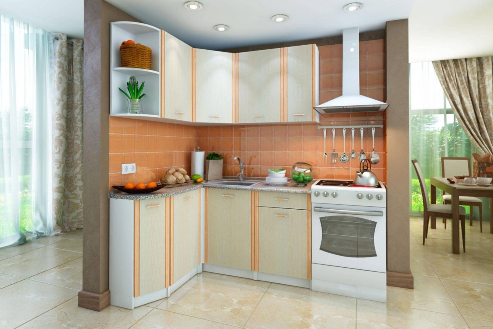 Кухонный гарнитур Лагуна левый угол (белый/дуб кремона) Лагуна