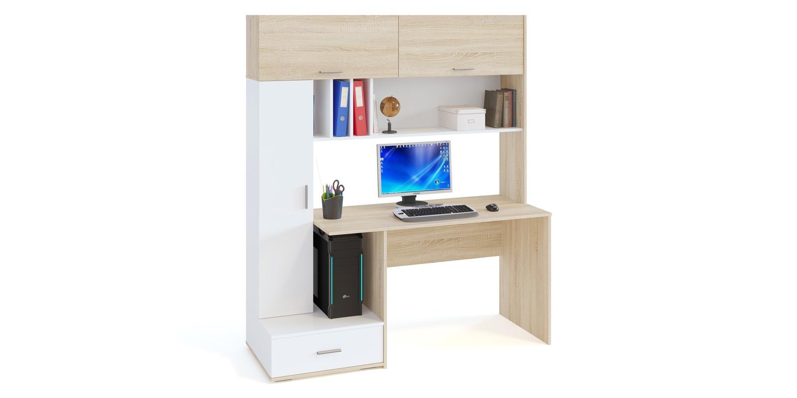 Стол компьютерный Нортон (дуб сонома/белый)