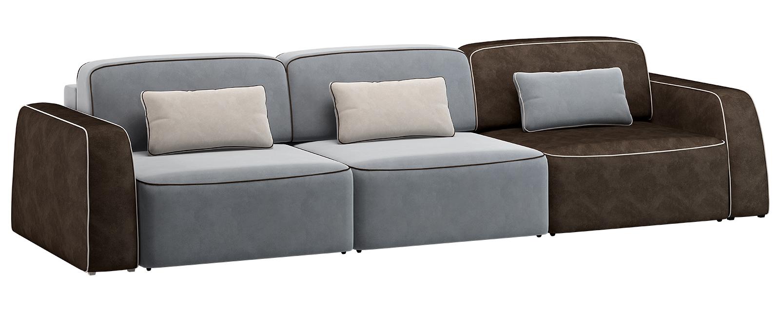 Модульный диван Портленд 300 см Вариант №3 Velutto серый/тёмно-коричневый (Велюр)