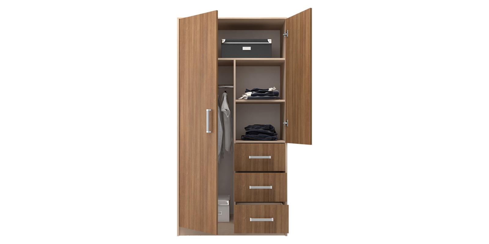 Шкаф распашной двухдверный Лакки (дуб кремона/ясень кассино) от HomeMe.ru