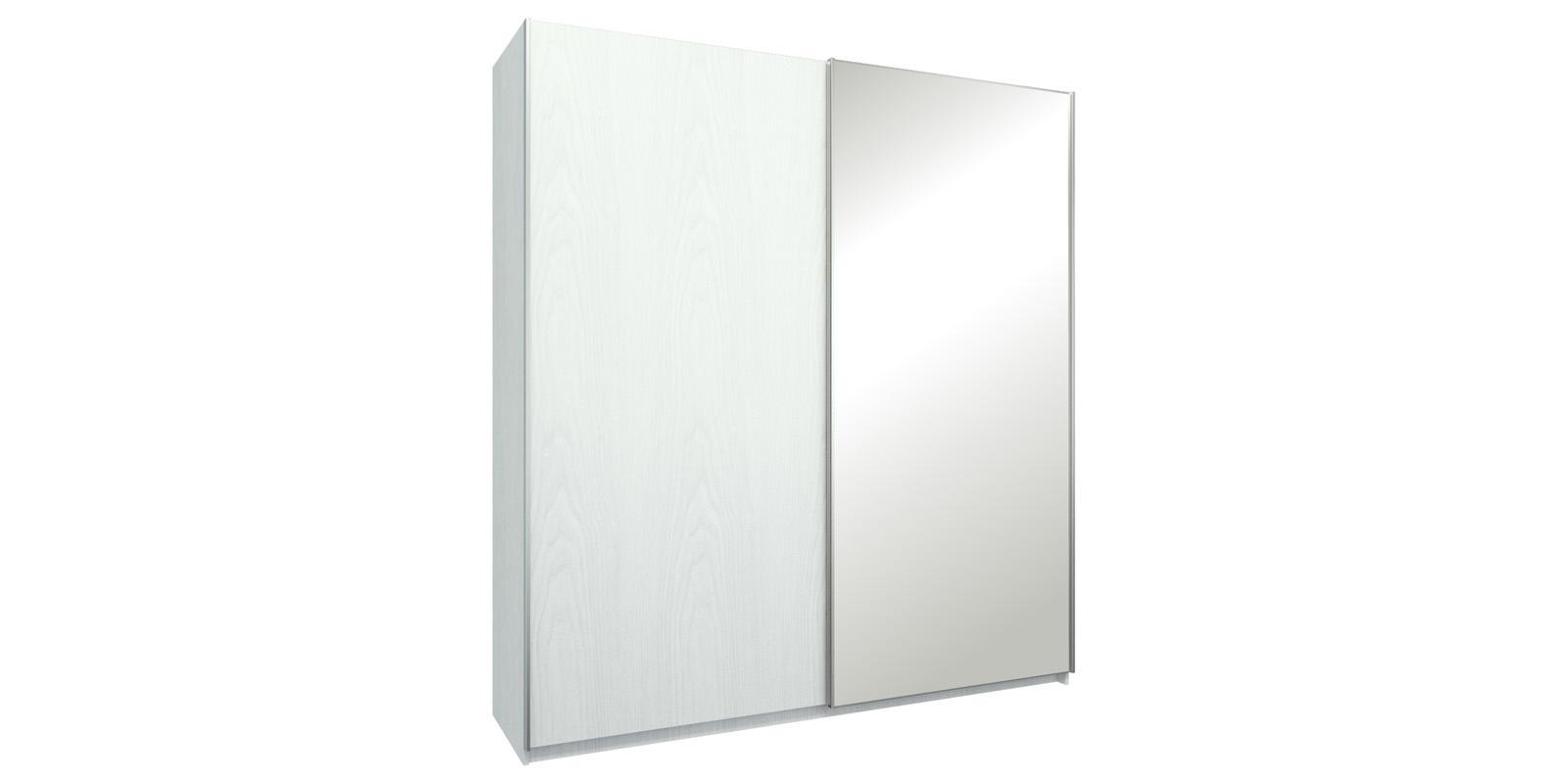 Шкаф-купе двухдверный Лофт 215 см (белый/зеркало)