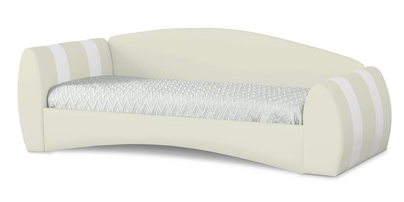 Мягкая кровать 190х90 Монако угол левый (молочный/белый)