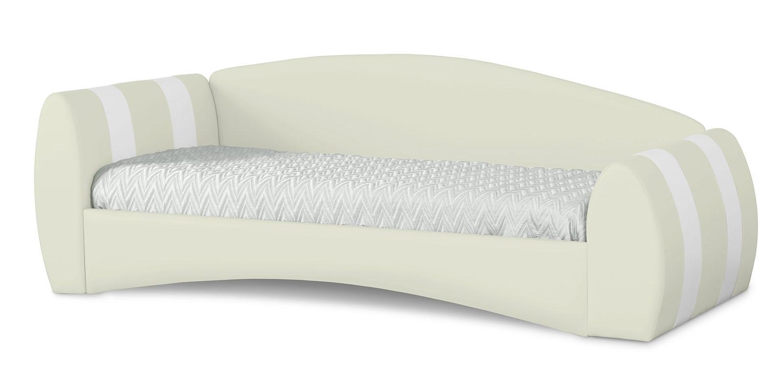 Кровать мягкая 190х90 Монако угол левый (молочный/белый)