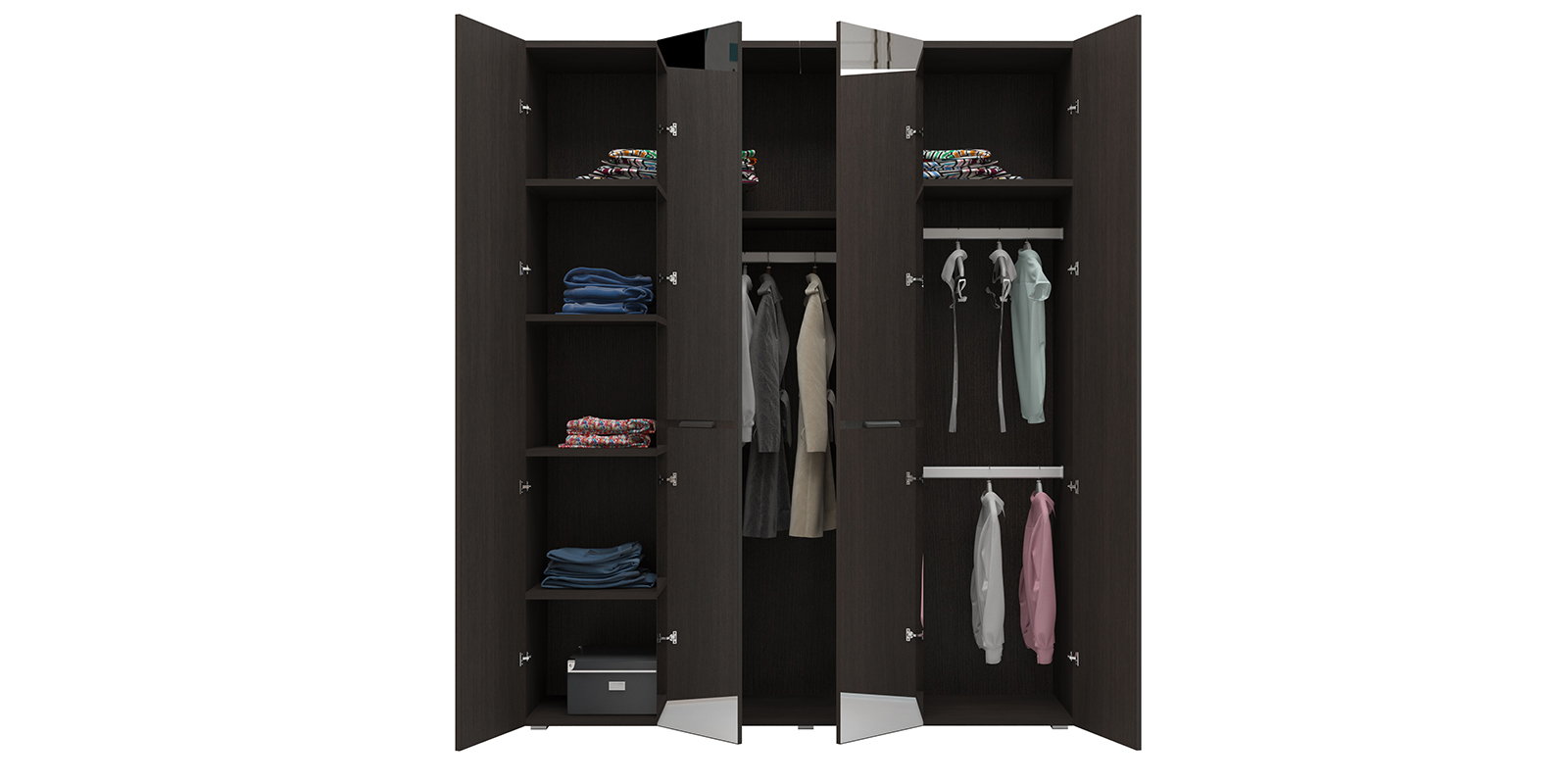Шкаф распашной четырехдверный Калгари (дуб кастано/зеркало) от HomeMe.ru