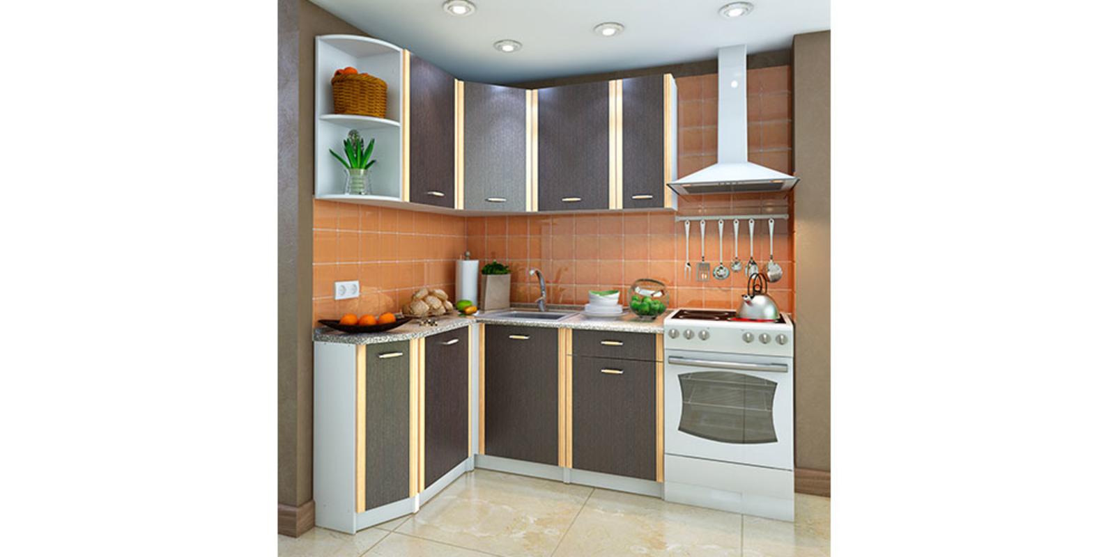 Кухонный гарнитур Лагуна левый угол (белый/венге)