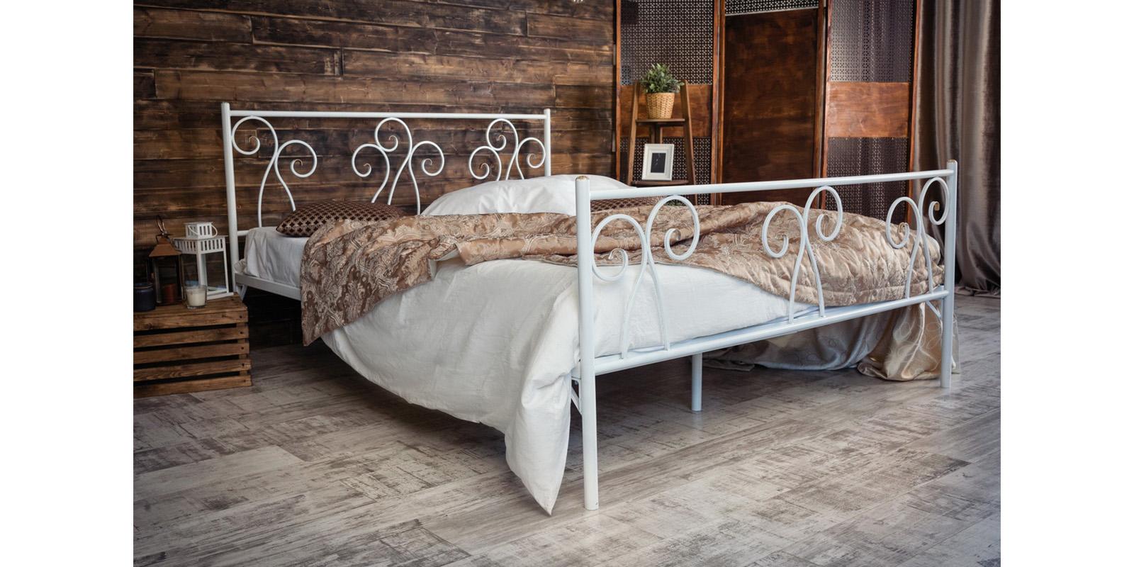 Металлическая кровать 160х200 Лацио с ортопедическим основанием (белый с золотом) S009/2-6 фото