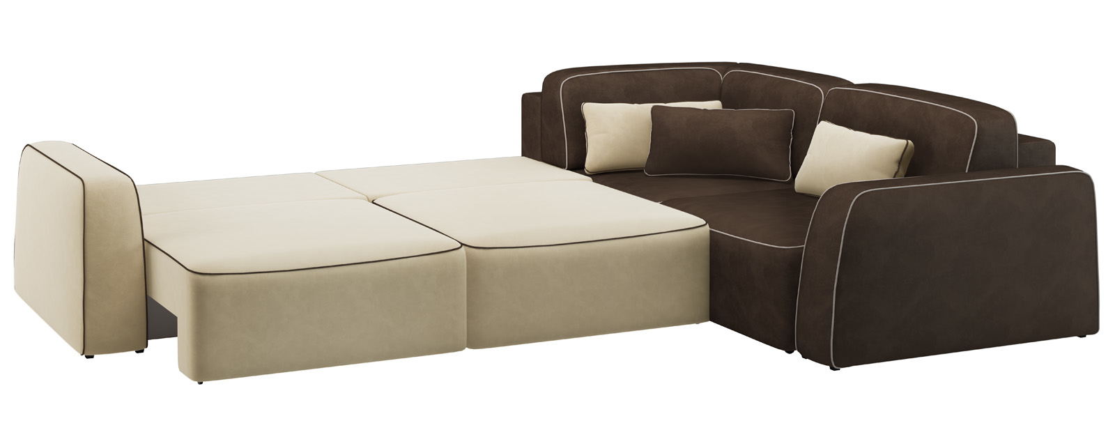 Модульный диван Портленд 350 см Вариант №3 Velure бежевый/темно-коричневый (Велюр) от HomeMe.ru